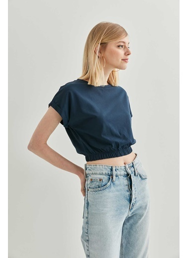 Vitrin Düşük Kol Bel Lastik Detaylı Bluz Lacivert